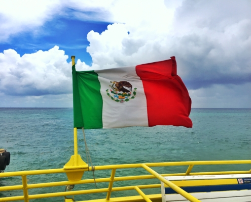 Mexican Flag in Quintana Roo