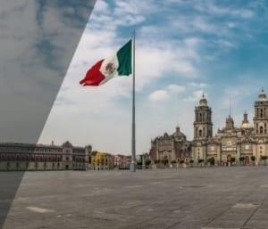 Mexiko Platz mit Fahne